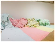 Karla Black's large installation 'At Fault', consisting of coloured powder as part of The Space Between exhibition at Tate Britain. http://kwessentialart.blogspot.co.uk/