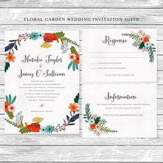 Floral Garden DIY Wedding Invitation Suite by AffordableDIYWedding