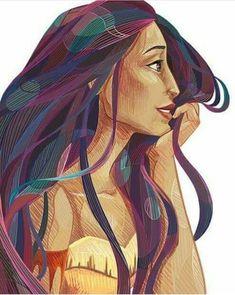 Pixar Drawing Pocahontas - Stylized, Size: x - Disney Pixar, Gif Disney, Disney Pocahontas, Arte Disney, Disney Fan Art, Disney Girls, Disney Animation, Disney And Dreamworks, Disney Love