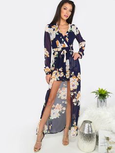 Online shopping for Floral Maxi Skirt Romper NAVY from a great selection of women's fashion clothing & more at MakeMeChic.COM.