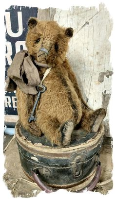 "Image of Antique Style 11.5"" Mohair BROWN Bear - antique skeleton key & bow * By Whendi's Bears"