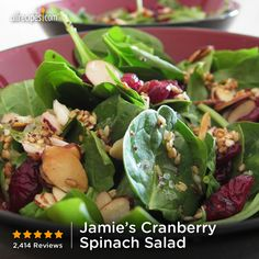 "Jamie's Cranberry Spinach Salad | ""This has become a regular staple at my dinner table when I have company. It's very easy and a crowd pleaser every time."""