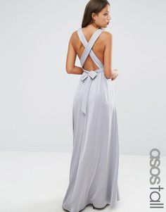 ASOS+TALL+Slinky+Ruched+Tie+Back+Maxi+Dress