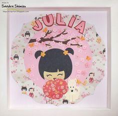 Quadrinho de kokeshi para a Julia e seu cãozinho;     Bloquinhos personalizados;     Um ótimo final de semana!   bjm