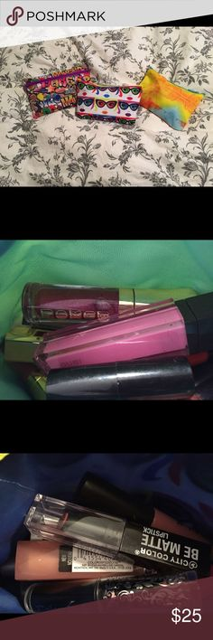 Makeup grab bag Your choice of 1,2, or 3 of 3 bags that contain 10 lip and cheek products.  Each bag includes brands like dose of colors, buxom, bare minerals, NYX, city colors, jouer, tarte etc.  Once swatched (on hand) NEVER on lips have been sprayed with alcohol to disinfect. Sephora Makeup Lipstick