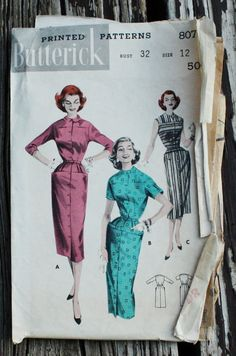 Butterick 8075 1950s 50s Mod Fitted Dress by EleanorMeriwether