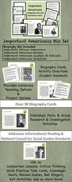 $ This 90 page activity set includes everything you need to allow your students to learn about Important Americans from every time period, every genre, and every topic area. It includes Biography Cards on over 50 Americans, Topic Cards to divide people into groups or Centers, Activity Sheets, Student Handouts, Project Options, Implementation Options and more! Use this one set over and over again to cover...