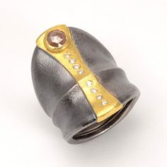 Atelier Zobel, Ring, Oxidized Silver and 22k Gold with a .94 ctw Rose Cut Diamond and .08 ctw Champagne Diamonds