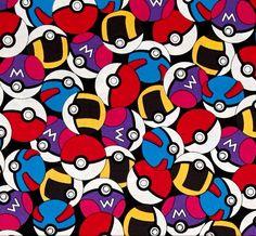 Telas retro - Tela FQ :: Pokémon balls :: - hecho a mano por nosgustanlosretros en DaWanda