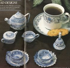 Miniature Tea Service Thread Crochet Pattern Dollhouse Mini Tea Set  P-185 by PatternMania3 on Etsy
