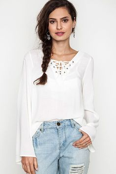 Smooth Operator Lace Up Blouse - ShopLuckyDuck  - 1