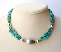 Southwestern Inspired Turquoise Chrysocolla Chip Double Strand Choker - only… Wire Jewelry, Jewelry Crafts, Beaded Jewelry, Jewelery, Jewelry Necklaces, Handmade Jewelry, Bracelets, Gemstone Necklace, Beaded Necklace