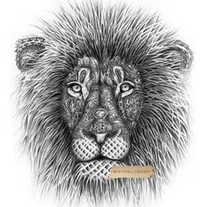 Black and white shaded tribal lion tattoo