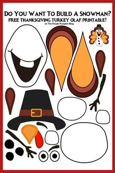 Say hello to Thanksgiving Turkey Olaf! Do you want to build a snowman? Then grab the free printable of this Olaf that is perfect for keeping the kids occupied at Thanksgiving. This is a great paper activity for Frozen fans of all ages! Thanksgiving Activities For Kids, Thanksgiving Turkey, Thanksgiving Sayings, Thanksgiving Cupcakes, Thanksgiving Outfit, Thanksgiving Decorations, Thanksgiving Recipes, Printable Crafts, Free Printables