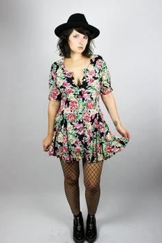 Vintage Dress Flower Child Colorful Fl Flowers Roses Ons Cute Retro Chic Y Grunge Alternative 80 S Minidress