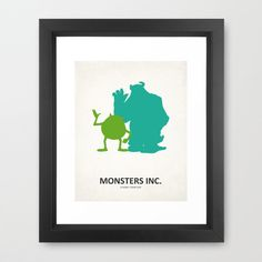 Disney Pixars Monsters Inc. -8x10 Art Metallic Print- movie posters, room decor, baby, kids, children, mike wazowzki, sully, minimalist. $15.50, via Etsy.