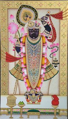 Classic Indian Art Poster Raja Nathwara India 1890 God Srinathji