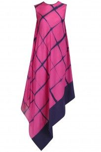 Pink and Blue Shibori Print Dress by Megha and Jigar Simple Kurti Designs, Salwar Designs, Stylish Dress Designs, Stylish Dresses, Casual Dresses, Frock Fashion, Fashion Dresses, Kurti Patterns, Dress Patterns