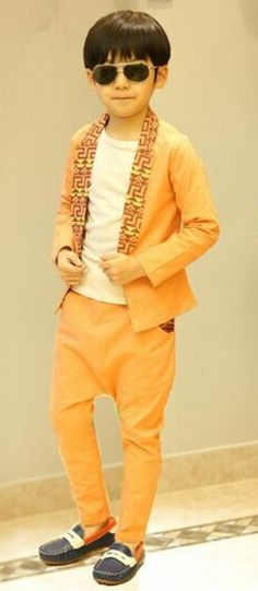 164411a9e83f Handsome Boys Three Piece Orange Suit for Casual and Occasions Wear