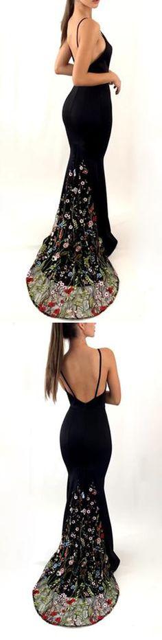 Black Spaghetti Strap Mermaid Open Back Unique Embroidery Long Prom Dresses, PM0784 #promdress #longpromdress