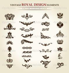 antique tattoo designs | Flower vintage royal design element | Stock Vector © Extezy #4911453