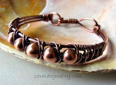 Copper Bead and Wire Bracelet