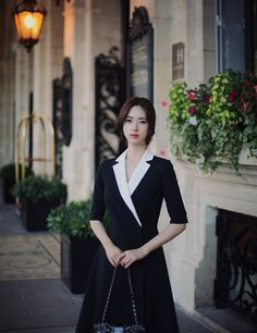 milkcocoa Korea Fashion, Asian Fashion, Girl Fashion, Fashion Dresses, Yoon Sun Young, Pretty Asian Girl, Plain Dress, Womens Fashion For Work, Girl Model
