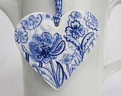 Porcelain  Heart -  Blue Delft Wall hanging/ornament. $43.00, via Etsy.