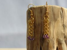 Handmade Gold-Plated Chainmaille Full Persian Weave Earrings with Purple Czech Glass Beads
