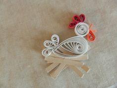 Scrapbook Embellishment Chicken Hen on Nest Quilled Paper Handmade White Red Card Making Supply. $4.00, via Etsy.