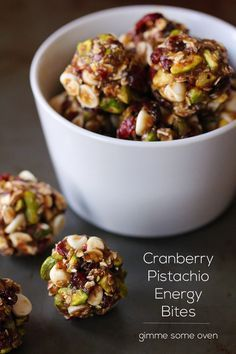 Cranberry pistachio energy bites  Ingredients  8 oz. (about 1 packed cup) chopped dates 1/2 cup honey 1 Tbsp. chia seeds (optional) 1 Tbsp. ground flax seeds or wheat germ pinch of salt 1 1/2 cups old-fashioned oats (dry, not cooked) 1 cup shelled pistachio nuts 1 cup dried cranberries 1/3 cup white chocolate chips (optional) Method