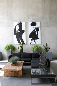 Modern neutrals with a pop of green.  Check out all the pics on this tour.   Apartment Therapy Enjoy! Trudy xx