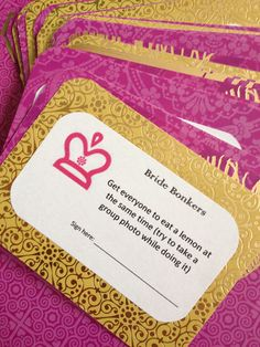 Bachelorette Party Game Purple/Pink and Gold by brandeschiller, $10.00