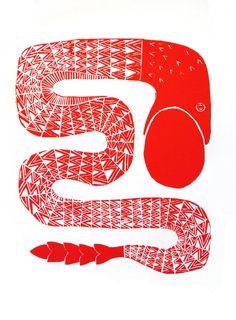 linocut red snake. http://www.ciprian-vrabie.com/graphics/linocut