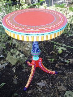 Side Table- Hand Painted Furniture Made to Order. Art Furniture, Funky Furniture, Colorful Furniture, Repurposed Furniture, Furniture Projects, Furniture Making, Furniture Makeover, Arrange Furniture, Wicker Furniture