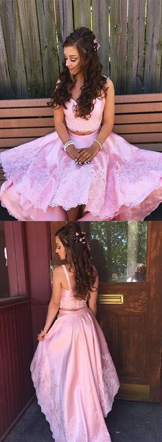 homecoming dress, two piece pink homecoming dress, 2017 pink homecoming dress, high low pink homecoming dress