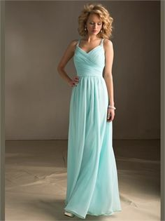 Blue Column V-Neck Beading Chiffon Bridesmaid Dress