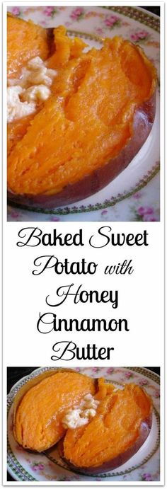 Baked Sweet Potatoes with Honey Cinnamon Butter Baked Sweet Potato with Honey Cinnamon Butter. A cooking tip for baking the sweetest sweet potatoes ever plus recipe for Honey Cinnamon Butter. Weight Watcher Desserts, Cinnamon Butter, Honey And Cinnamon, Cinnamon Biscuits, Sweet Potato Cinnamon, Cooking Tips, Cooking Recipes, Cooking Steak, Crockpot Recipes