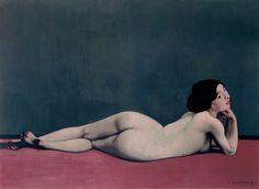 Félix Vallotton : nu couché sur un tapis rouge (1909) huile sur toile 73 x 100 cm
