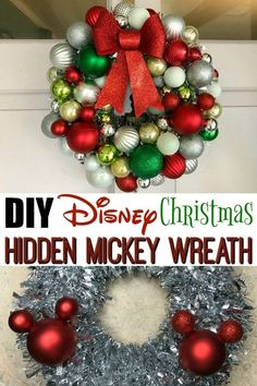 Declutter And Style And Design For Put Up-Spring Crack Homeschool Good Results Looking For A Fun, Easy And Inexpensive Diy Disney Wreath Tutorial? Here's One For A Christmas Hidden Mickey Wreath Using Dollar Store Craft Supplies. Disney Christmas Crafts, Disney World Christmas, Mickey Mouse Christmas, Disney Crafts, Christmas Holidays, Christmas Wreaths, Christmas Reef, Christmas Decor, Christmas Ideas