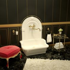 Раковина напольная с декоративной пристенной панелью и галереей Olivia Migliore