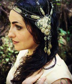 Art Nouveau Chain Headdress- Meereen- Turkoman Tribal Fusion Chain and Rhinestone Sparkle Headpiece