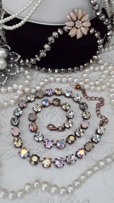 Items similar to CONFETTI Genuine Swarovski Necklace. Fabulous and Stricking Neutral Colors. Color Pattern will Go with AnYtHiNg on Etsy Swarovski Crystal Necklace, Swarovski Jewelry, Silver Pendant Necklace, Crystal Jewelry, Swarovski Crystals, Costume Jewelry, Jewelery, Neutral Colors, Rose Water