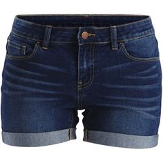 Vila Vigroup - Denim Shorts (€32) ❤ liked on Polyvore featuring shorts, bottoms, pants, short, dark blue denim, denim shorts, slim fit shorts, denim short shorts, stretch jean shorts and short jean shorts
