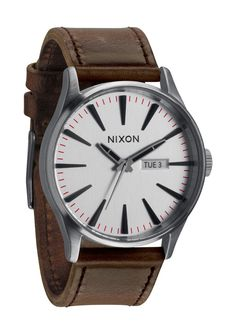 Original Nixon The Sentry Leather Silver / Brown Watch A105-1113 #Nixon