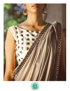 Grey and yellow cotton saree with an ivory and black ikkat blouse Beautiful Blouses, Beautiful Saree, Indian Dresses, Indian Outfits, Saree Jackets, Saree Dress, Sleeveless Saree Blouse, Chiffon Blouses, Sexy Blouse