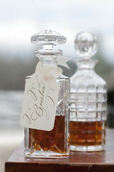 A bourbon station for the groomsmen is sure to be a well-received touch.