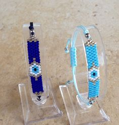 Items similar to Evil eye beaded bracelet, trendy jewelry for her on Etsy Necklace Sizes, Bracelet Sizes, Bracelet Patterns, Beading Patterns, Jewelry For Her, Trendy Jewelry, Diy Jewelry, Seed Bead Jewelry, Seed Beads