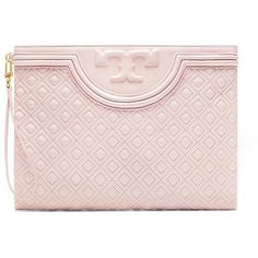 Tory Burch Fleming Large Pouch ($295) ❤ liked on Polyvore featuring bags, handbags, clutches, bedrock, tory burch, tory burch clutches, pink clutches, zipper handbag and tory burch handbags