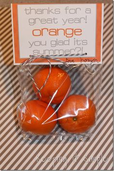Keeping it Simple: Orange teacher gift with free printable